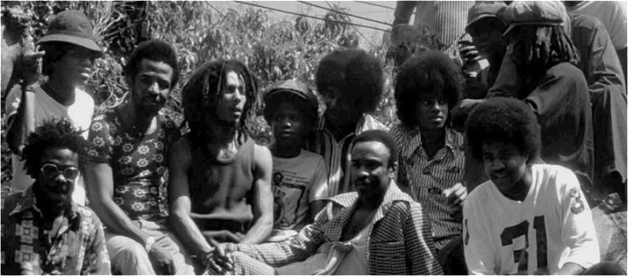 Bob Marley & The Wailers hang out with The Jackson 5 in Jamaica, 1975.