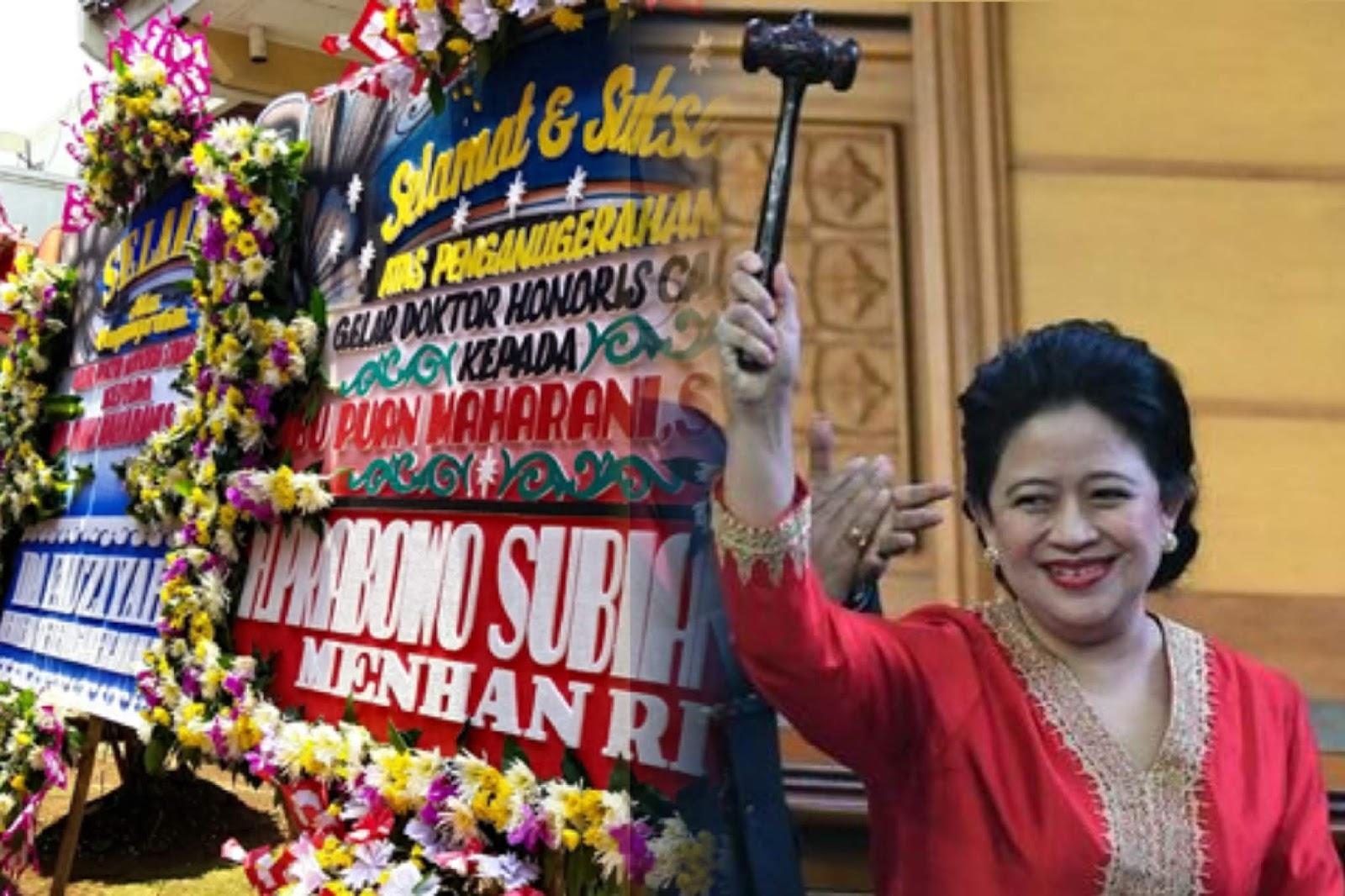 Puan akan Bergelar Doktor HC, Wapres dan Menhan Kirim Karangan Bunga