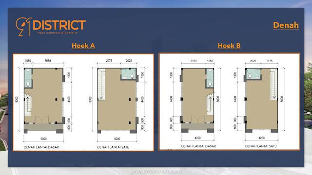 Denah ruko 91 District Hoek A & B