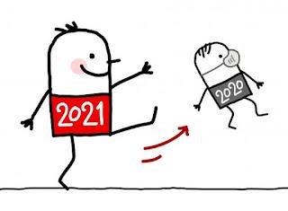 2021 pegandole una patada en el culo a 2020