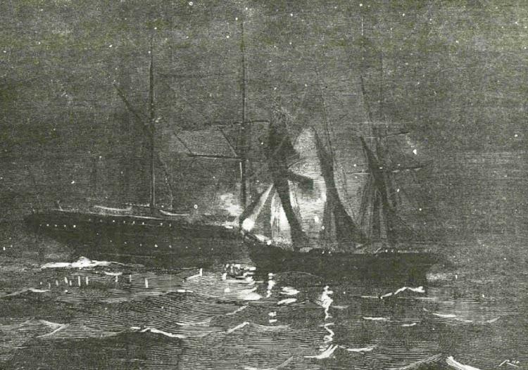 El naufragio del VIZACAYA según la revista La Ilustración Española y Americana. Año 1890. Dibujo de A. de Caula.jpg