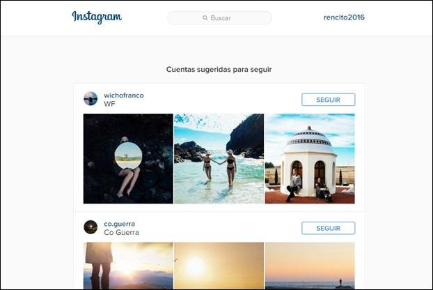 Sesión abierta en Instagram desde la PC
