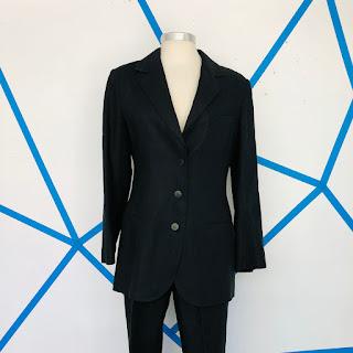 Chanel Boutique Black Linen Pant Suit