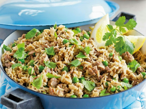Spiced lamb and coconut pilaf