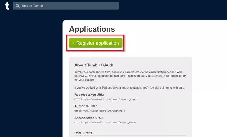 Register Application button.