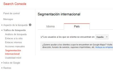 Segmentación internacional en el panel de Herramientas para Webmaster de Google.