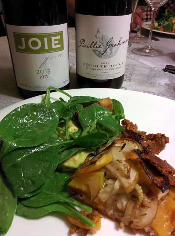 JoieFarm 2013 PTG & Baillie-Grohman 2014 Récolte Rouge with Squash, Apple, & Fennel Galette