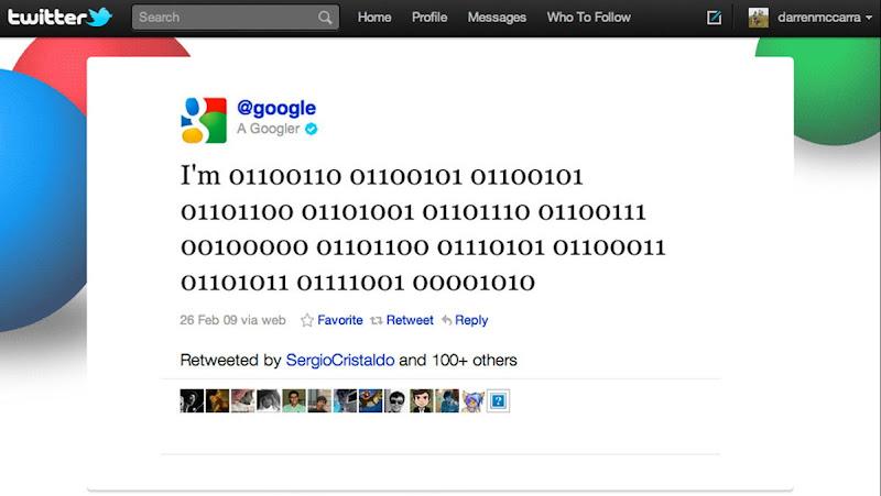 google's first tweet on 29 fb 2009