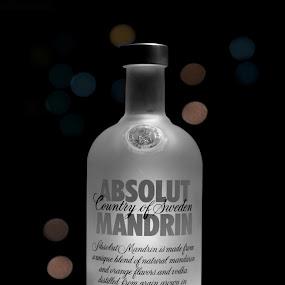 ABSOLUT by Mahesh Thiru - Food & Drink Alcohol & Drinks ( lights, glass, white, grey, circle, absolut, bottle, bokeh )