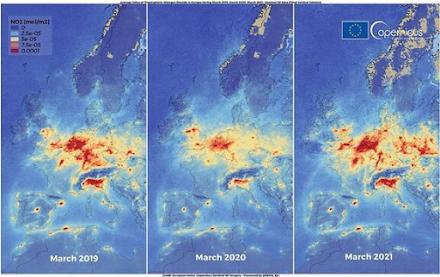 Copernicus : Η ατμοσφαρική ρύπανση στην Ευρώπη επανήλθε σε επίπεδα προ πανδημίας τον Μάρτιο