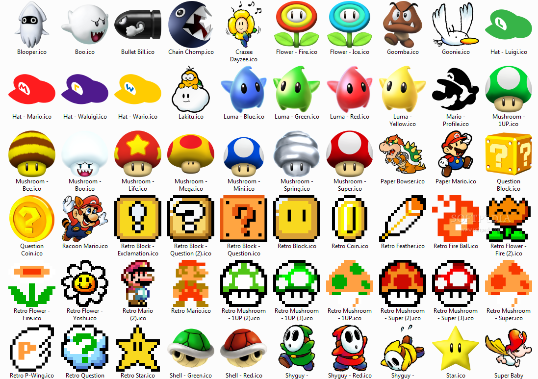 displaying 16 gt images for all super mario characters