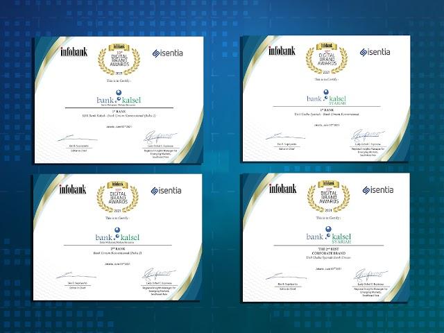 Bank Kalsel Raih 4 Penghargaan di Ajang 10th Infobank Digital Brand Awards 2021