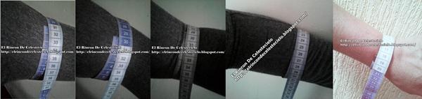 Forma de tomar medidas al contorno del brazo y del puño para manga en tejido de punto