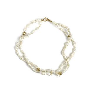 14K Gold & Seed Pearl Double Strand Bracelet