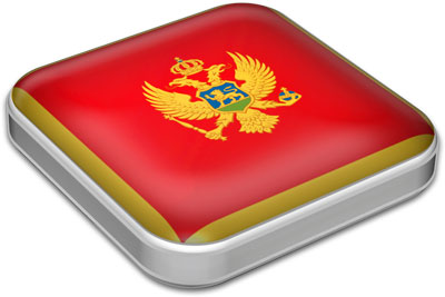 Flag of Montenegro with metallic square frame