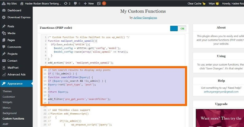 Kod Lindungi Pages dari WP Search Dalam MyCustom Functions