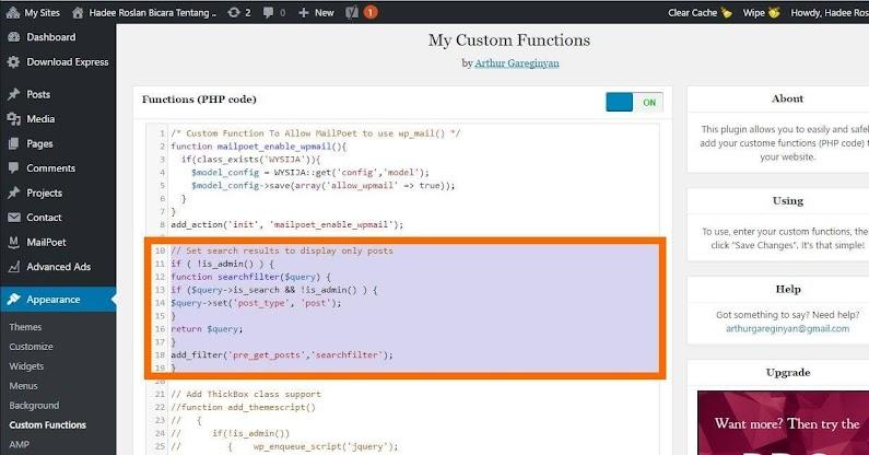 Kod Lindungi Pages dari WP Search Dalam MyCustom Functions