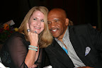 (L to R) Deborah Cade, auction winner wearing Drew's Super Bowl ring with Special Guest, Drew Pearson, NFL Sportscaster and former Dallas Cowboys Wide Receiver