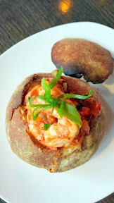 First National Taphouse Portland, Prawn Boule with Brunoise Vegetables, Prawns, Brandy Nosh in a Potato Roll with Wild Ride Brewing Whoopty Whoop Wheat beer