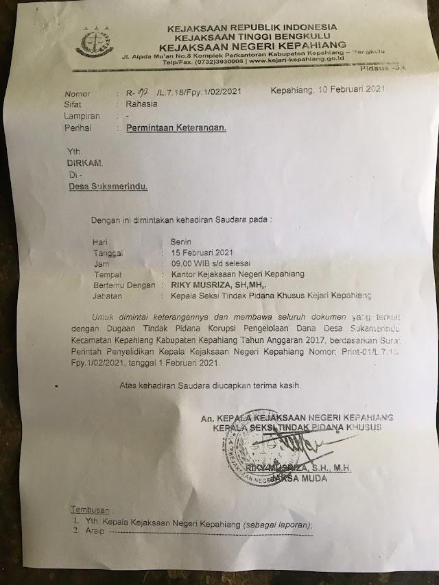 Diduga telah menyelewengkan anggaran DD/ADD, Kades Sukomerindu Kepahiang dilaporlan warga ke Kejari