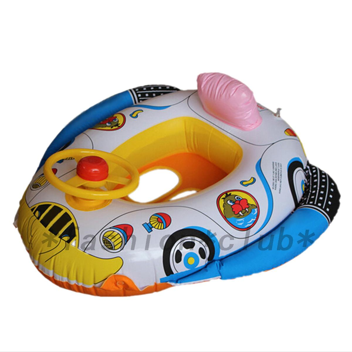 Lovely Baby Swimming Seat Ring Kids Inflatable Car Pool Float Boat ...