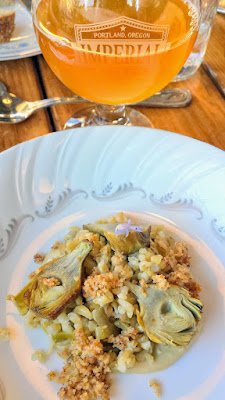 Imperial Bottle Shop and Taproom presents The Bruery and Coquine Beer Pairing Dinner.  Here for course 2, Bruery Sourrento - a limoncello-inspired sour blonde with lemon & lactose paired with Smoked green farro with artichokes, schmaltz, rosemary and brown butter bread crumbs