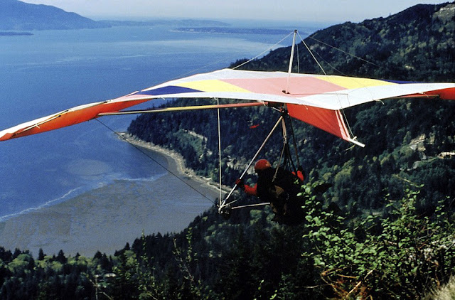 Hang gliding over Chuckanut Mountain gives a spectacular view of Bellingham Bay. / Credit: Jon Brunk