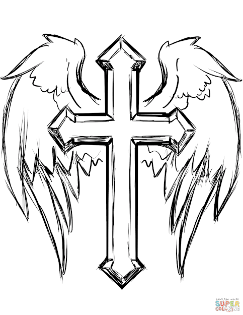 Click The Cross With Wings Coloring Pages To View Printable Version Or Color  It Online Patible With Ipad And Android Tablets