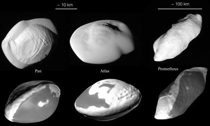 formato das luas de Saturno