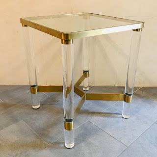 Lucite and Glass Accent Table
