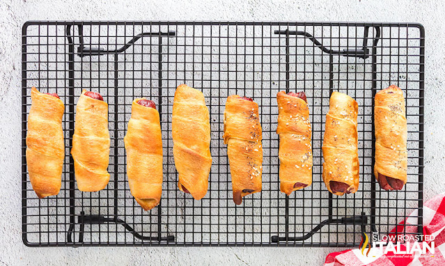 pigs in a blanket on a cooling rack