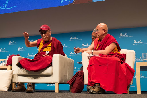 His Holiness the Dalai Lama and Ven. Matthieu Ricard at the Université de Lausanne, Switzerland, April 15, 2013. Photo by Jon Schmidt.