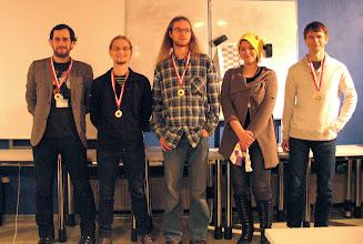 Photo: Od lewej: 2 miejsce - Szymon Lasota; 1 miejsce - Harri Pantsar; 3 miejsce - Marcin Kotowski; Ostatnie miejsce - Martyna Borysiak; 4 miejsce - Maciej Krawczak