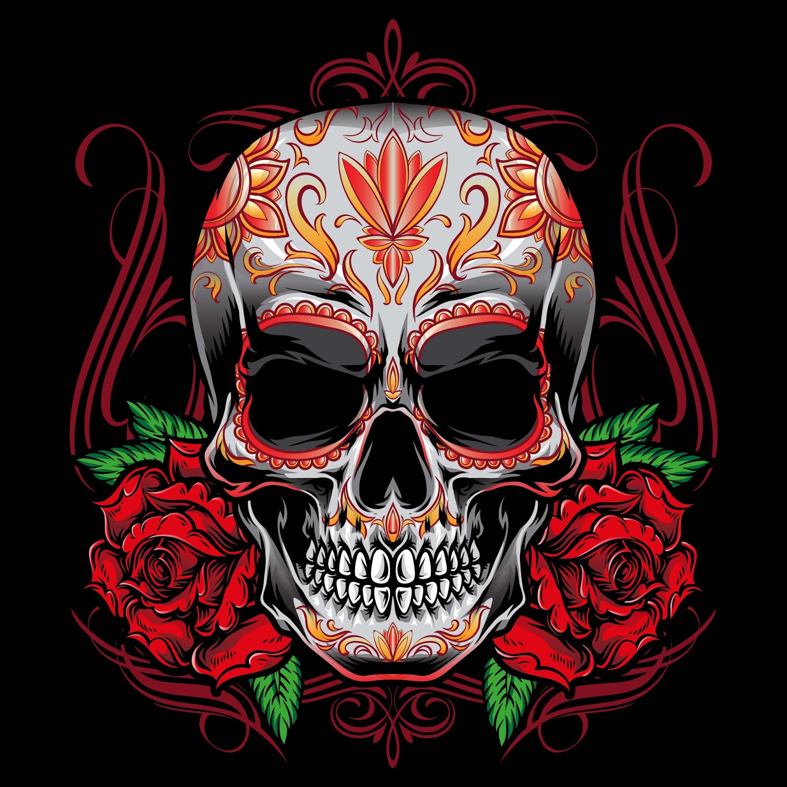 Sugarskull Vector With Roses Ornament Free Download Vector CDR, AI, EPS and PNG Formats