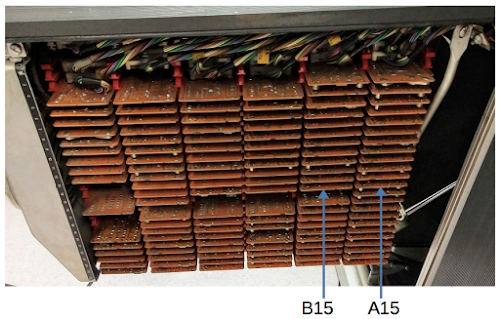 The gate in the 1401 holding the card reader circuitry. Note the cards in positions A15 and B15.