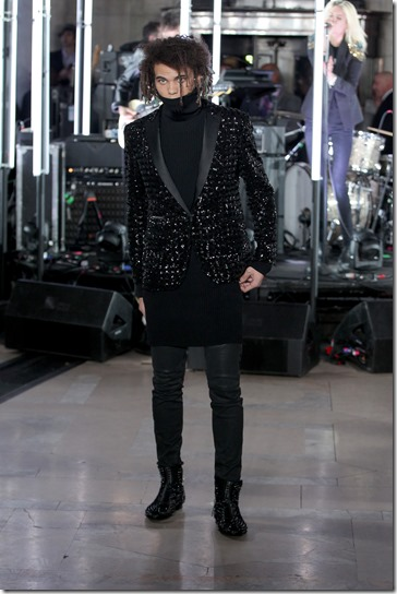 NEW YORK, NY - FEBRUARY 13:  A model walks the runway wearing look # 9 for the Philipp Plein Fall/Winter 2017/2018 Women's And Men's Fashion Show at The New York Public Library on February 13, 2017 in New York City.  (Photo by Thomas Concordia/Getty Images for Philipp Plein)
