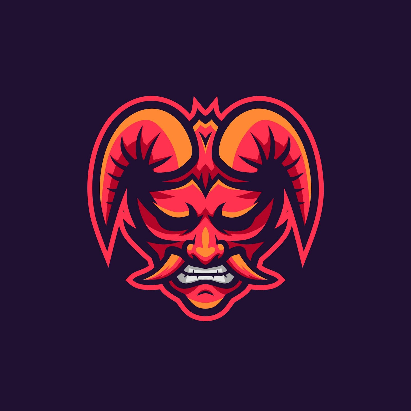 Oni Demon Mascot Logo Free Download Vector CDR, AI, EPS and PNG Formats