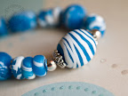 Peacock Blue Bead Set - Striped Focal Bead