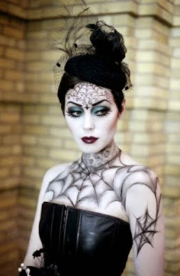 spider webs pinup gothic body art