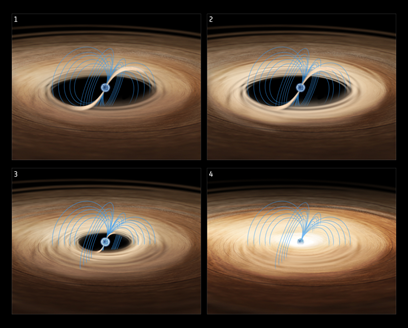 ilustração do processo de acreção sobre a estrela de nêutrons