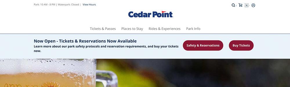 Cedar Point website alert banner