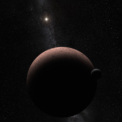 ilustração do planeta anão Makemake e seu satélite