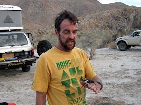 Bob holding a large Tarantula in Carrizo Gorge
