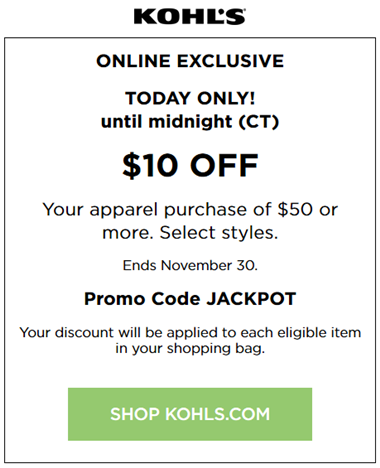 Kohls coupon $10 off $50 Apparel for Family