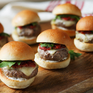 Grilled Lamb Sliders with Smoked Tomato Jam, Havarti Cheese & Arugula