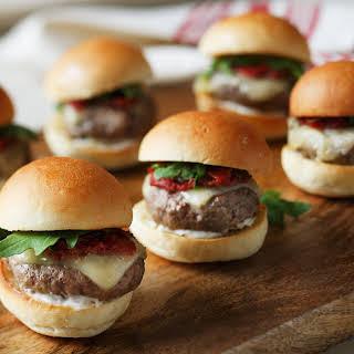 Grilled Lamb Sliders with Smoked Tomato Jam, Havarti Cheese & Arugula.