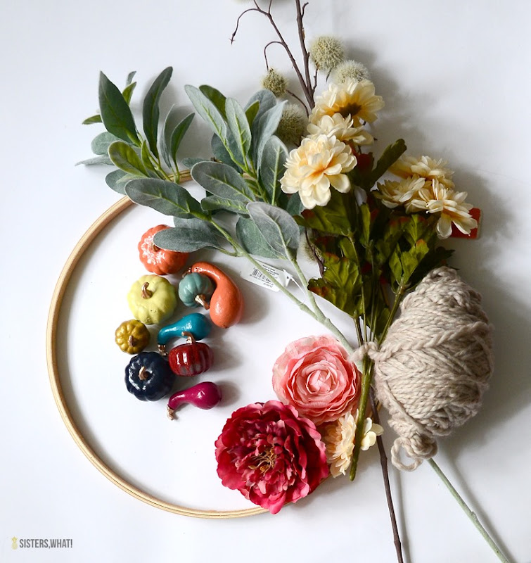 modern fall rainbow wreath supplies
