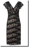 Cap sleeved black and nude layered lace stretch dress
