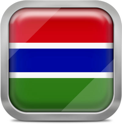 Gambia square flag with metallic frame