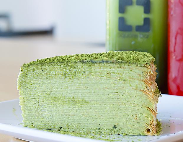 photo of a slice of Matcha Crepe Cake